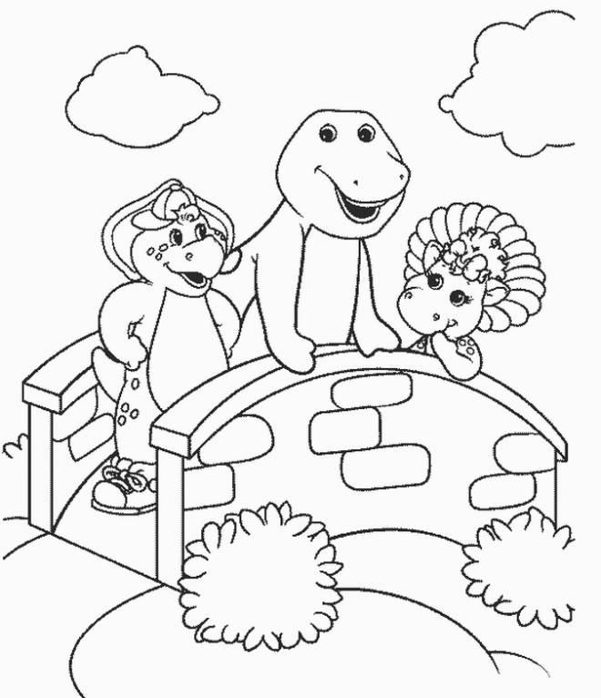 Coloriage et dessins gratuits Barney, Bj et Baby Bop s'amusent à imprimer