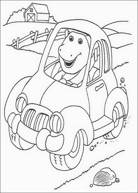 Coloriage et dessins gratuits Barney conduit une voiture à imprimer
