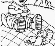Coloriage et dessins gratuit Barney en picnic avec Baby Bop à imprimer