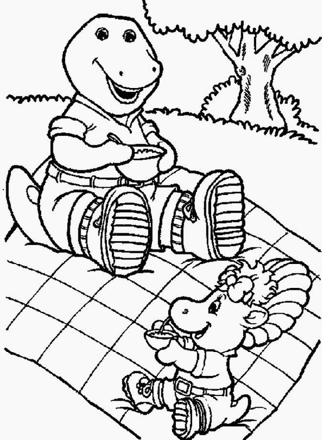 Coloriage et dessins gratuits Barney en picnic avec Baby Bop à imprimer