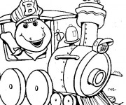 Coloriage Barney en train