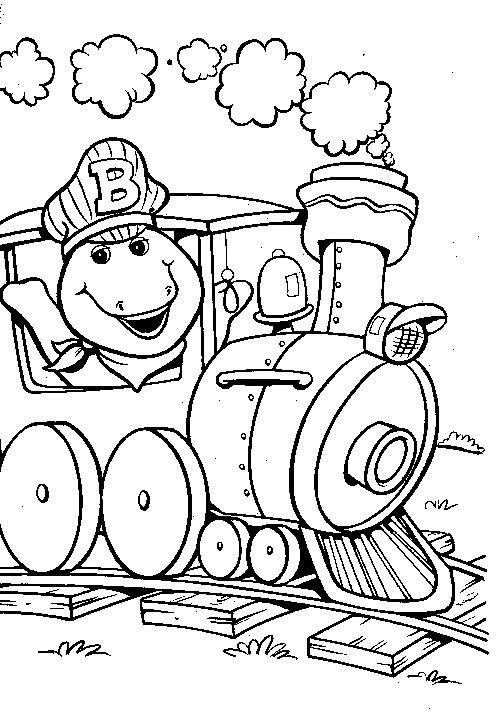 Coloriage et dessins gratuits Barney en train à imprimer