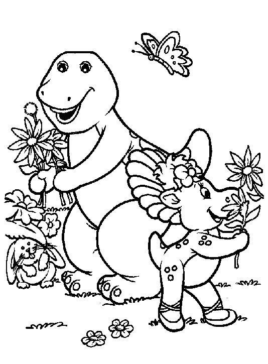 Coloriage et dessins gratuits Barney et Baby Bop  en jardin à imprimer