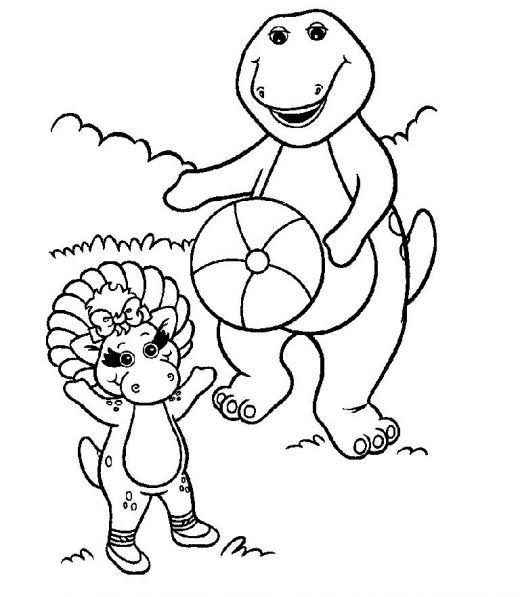 Coloriage et dessins gratuits Barney et Baby Bop joue au ballon à imprimer