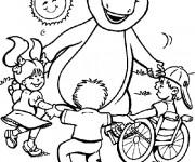 Coloriage et dessins gratuit Barney joue avec les enfants à imprimer