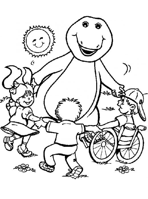 Coloriage et dessins gratuits Barney joue avec les enfants à imprimer