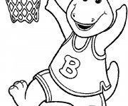 Coloriage Barney joue de la basket