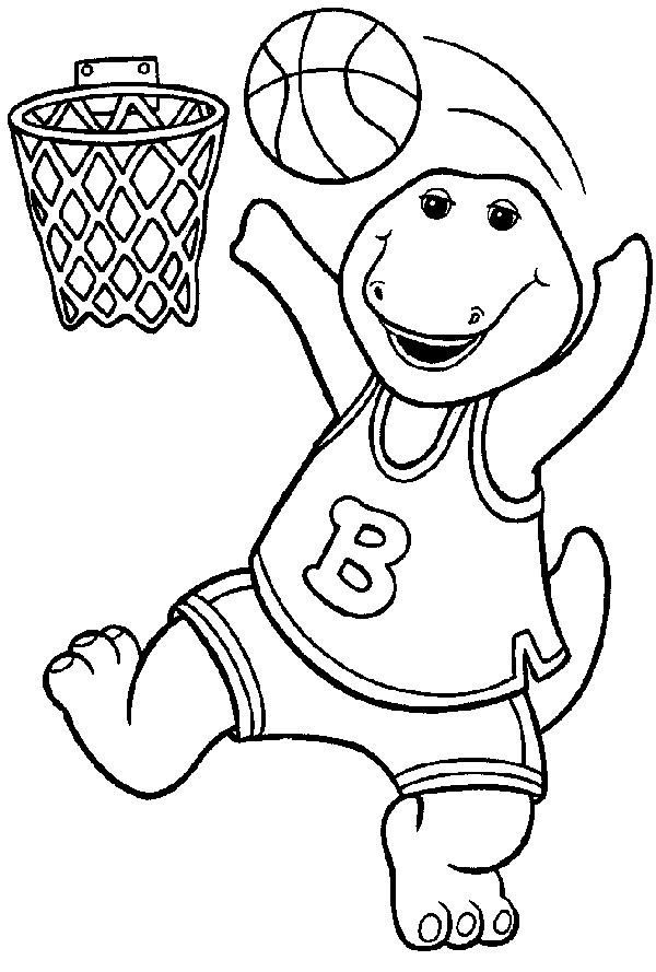 Coloriage et dessins gratuits Barney joue de la basket à imprimer