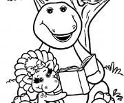 Coloriage Barney lit un ivre avec Baby Bop