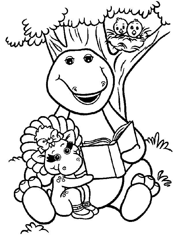 Coloriage et dessins gratuits Barney lit un ivre avec Baby Bop à imprimer