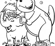 Coloriage Barney néttoie de l'éléphant