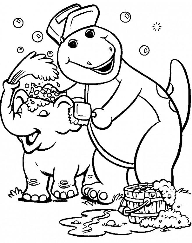 Coloriage et dessins gratuits Barney néttoie de l'éléphant à imprimer