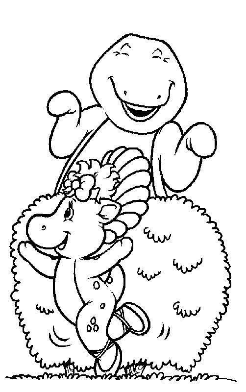 Coloriage et dessins gratuits Barney s'amuse avec Baby Bop à imprimer