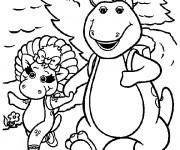 Coloriage et dessins gratuit Barney se promène avec Baby Bop à imprimer