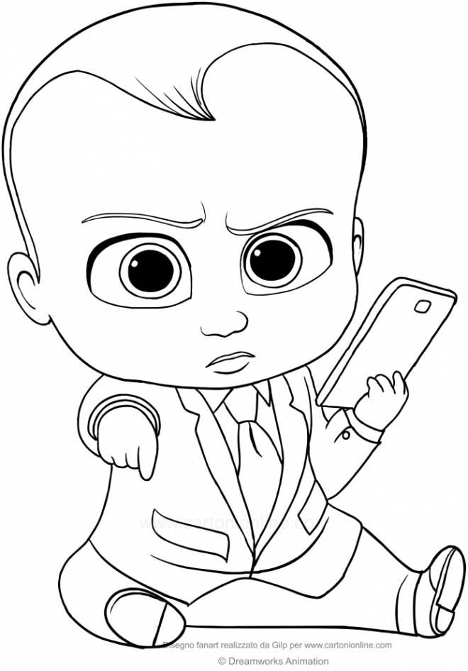 Coloriage et dessins gratuits Bébé Boss et son portable à imprimer