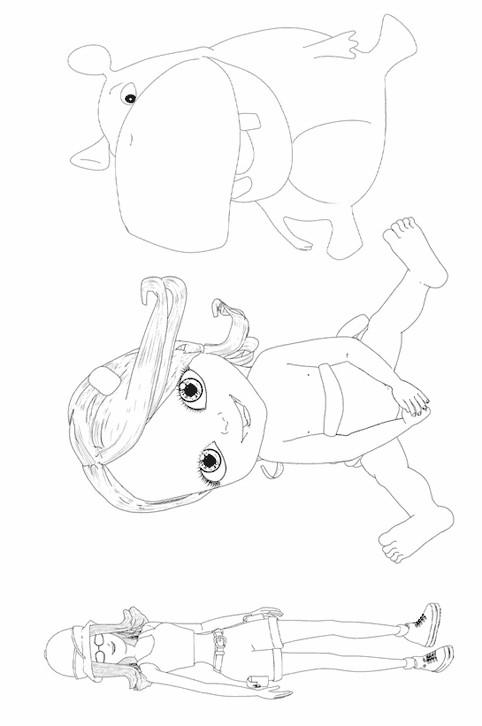 Coloriage et dessins gratuits Bebe Lilly entourée par ses amis à imprimer