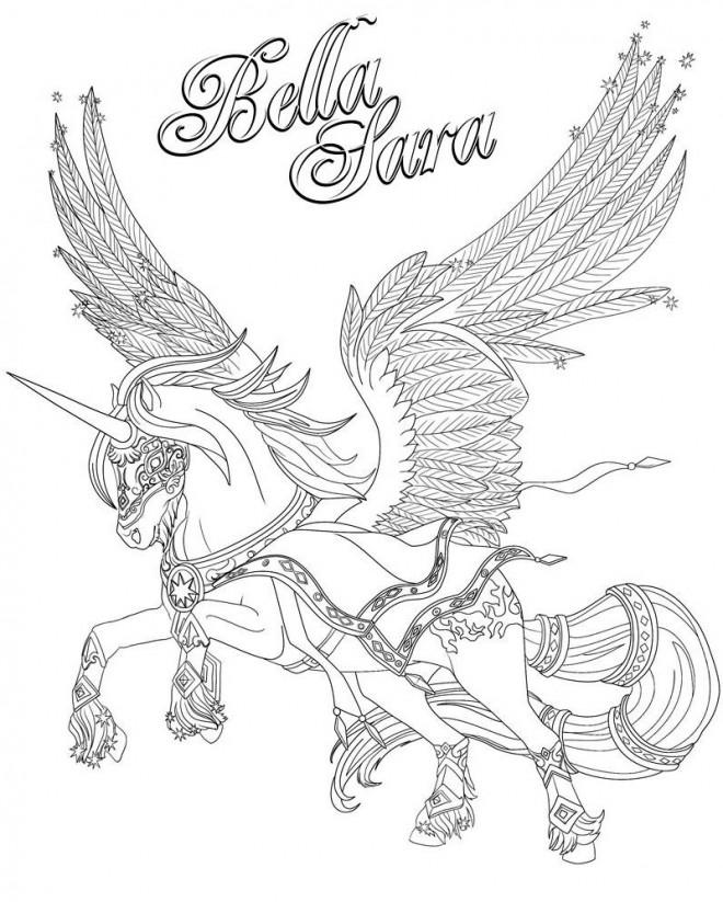 Coloriage et dessins gratuits Bella Sara cheval volant à imprimer