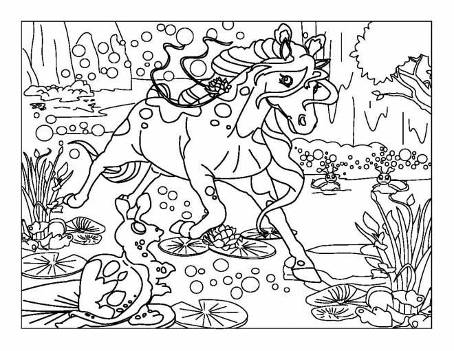 Coloriage et dessins gratuits Bella Sara dasn le marécage à imprimer