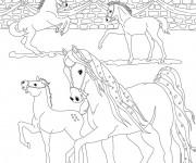 Coloriage Bella Sara: Les chevaux s'amusent