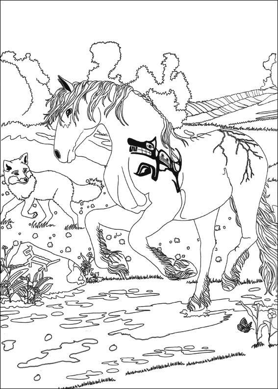 Coloriage et dessins gratuits Bella Sara: une cheval avec un loup à imprimer