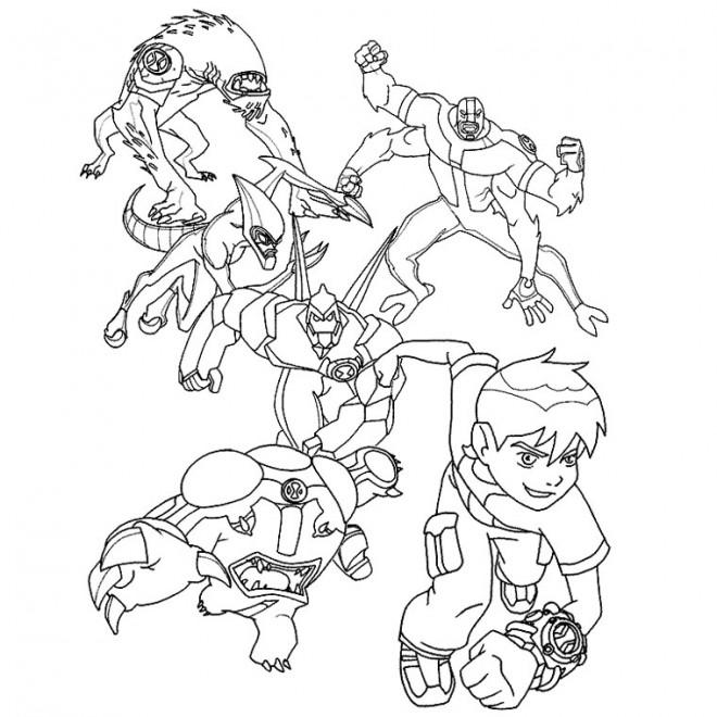 Coloriage et dessins gratuits Ben 10 et ses transformations à imprimer