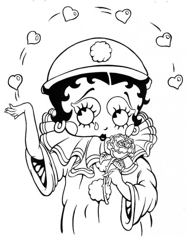 Coloriage et dessins gratuits Betty Boop en mode Cloon à imprimer