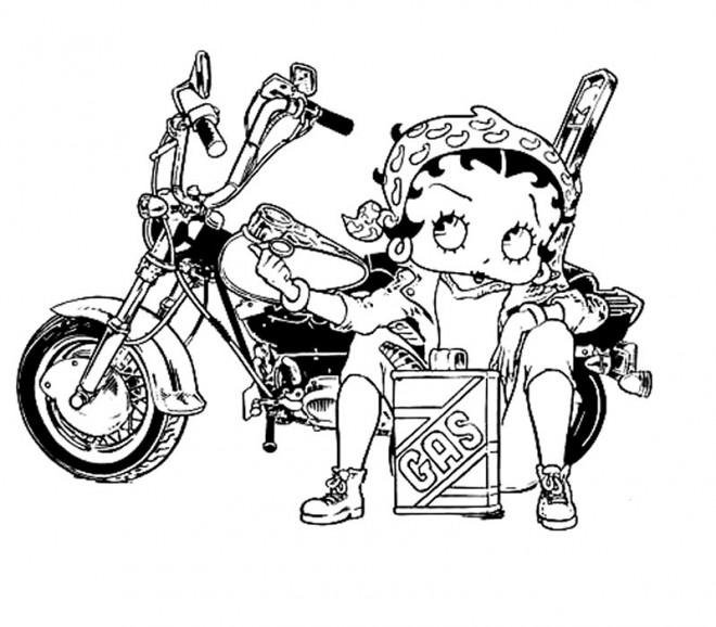 Coloriage et dessins gratuits Betty Boop maintien sa moto à imprimer