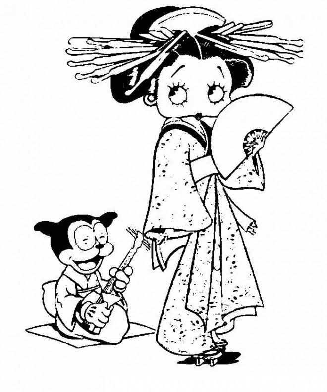 Coloriage et dessins gratuits Betty Boop porte un kimono à imprimer