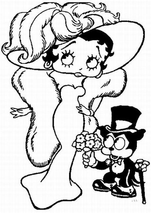 Coloriage et dessins gratuits Betty Boop se prépare pour une fête à imprimer