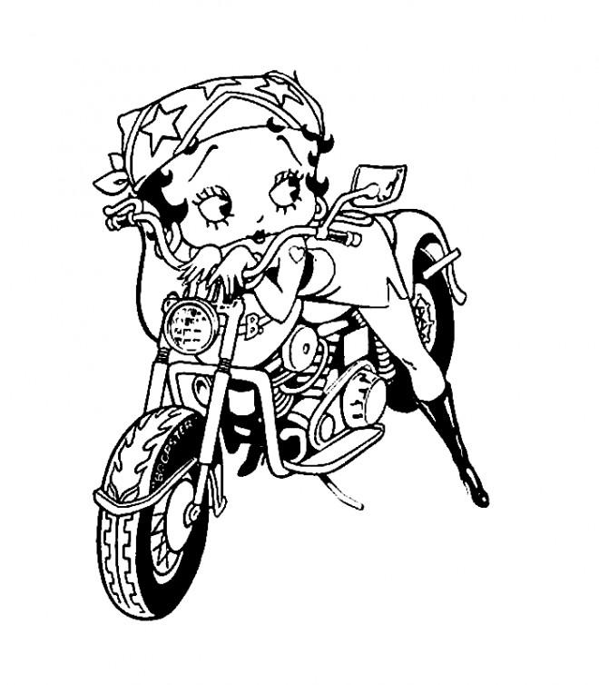 Coloriage et dessins gratuits Betty Boop sur sa moto à imprimer