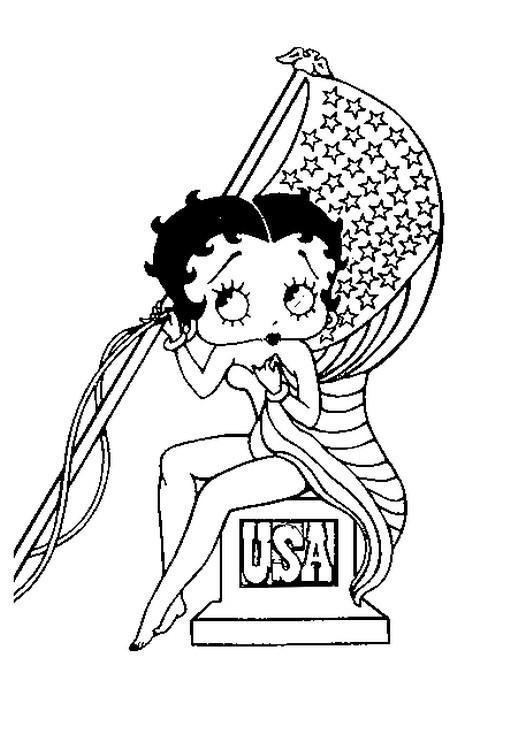 Coloriage et dessins gratuits Betty Boop tient le drapeau à imprimer