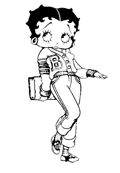 Coloriage et dessins gratuits Betty Boop tient un livre à imprimer