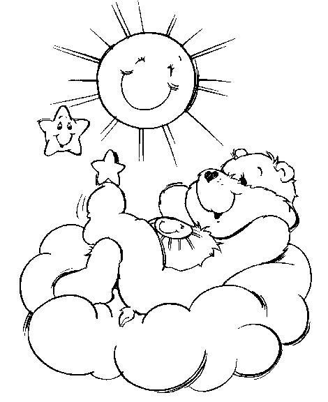 Coloriage et dessins gratuits Bisounours admire le soleil à imprimer