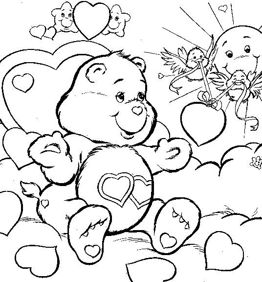 Coloriage et dessins gratuits Bisounours coeur à imprimer