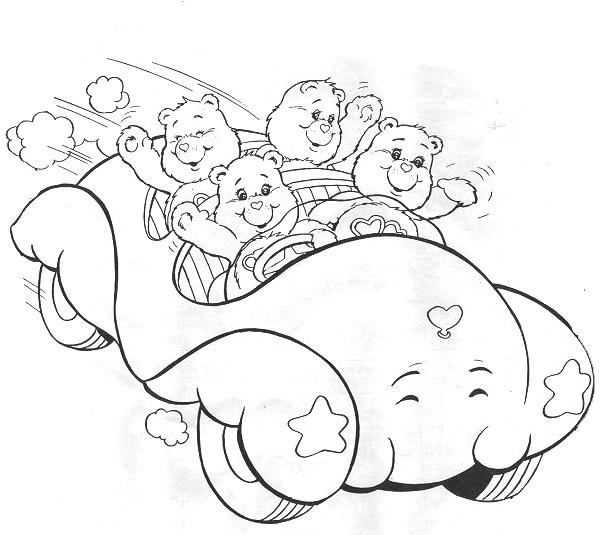 Coloriage et dessins gratuits Bisounours conduisent une voiture à imprimer