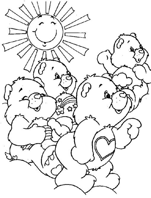 Coloriage et dessins gratuits Bisounours contents à imprimer