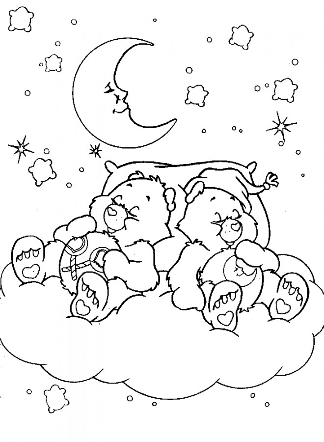Coloriage bisounours dorment dessin gratuit imprimer - Bisounours coloriage ...