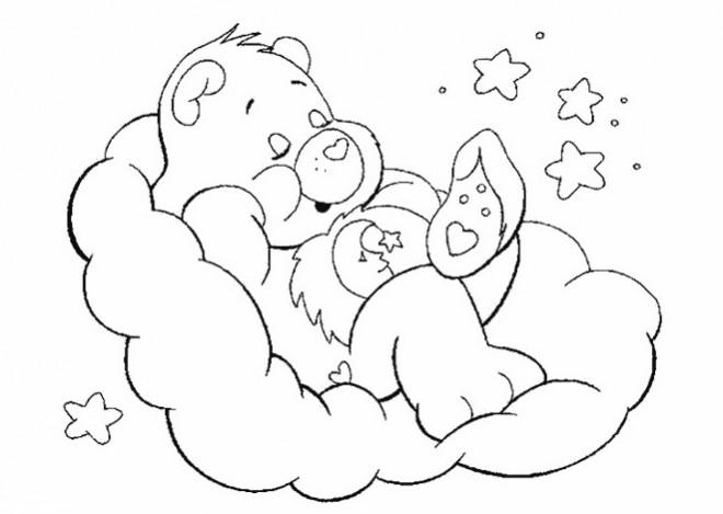 Coloriage et dessins gratuits Bisounours endormi à imprimer
