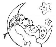 Coloriage Bisounours endormi sur le croissant de lune