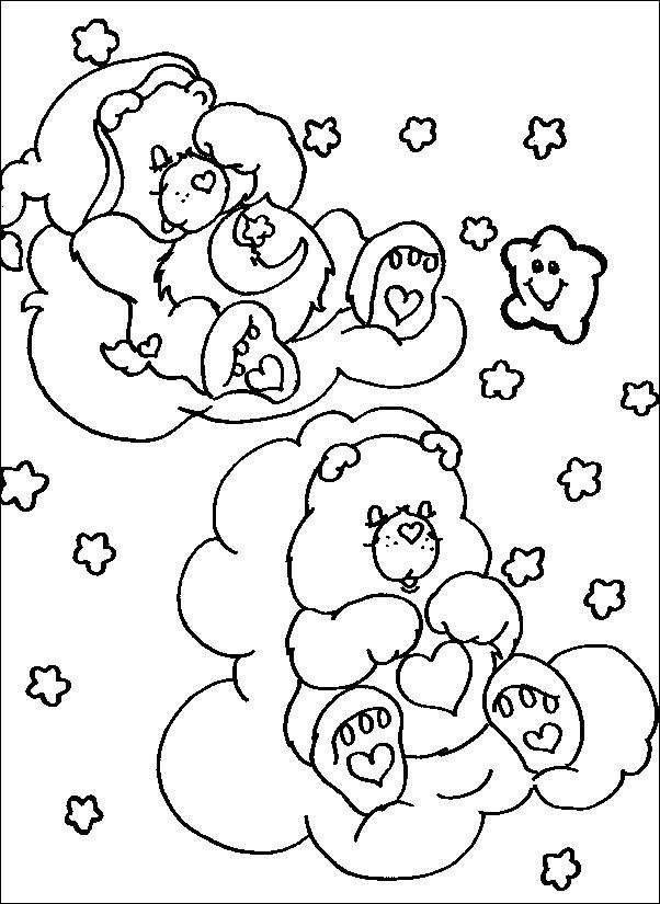 Coloriage Bisounours entrain de dormir dessin gratuit à imprimer
