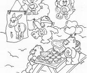Coloriage et dessins gratuit Bisounours entrain de manger à imprimer