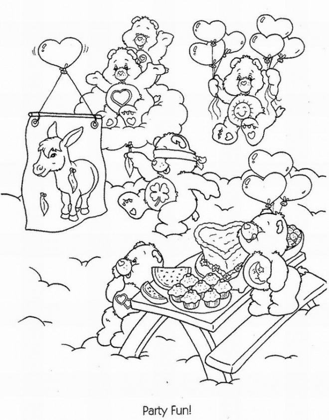 Coloriage et dessins gratuits Bisounours entrain de manger à imprimer