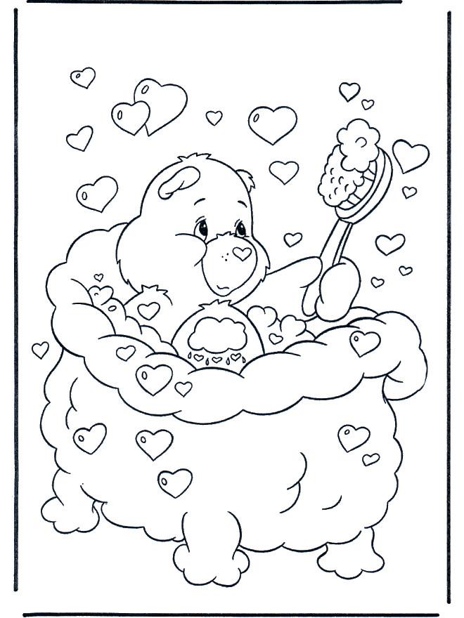 Coloriage et dessins gratuits Bisounours fait une douche à imprimer