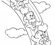 Coloriage dessin  Bisounours glissent sur l'arc en ciel