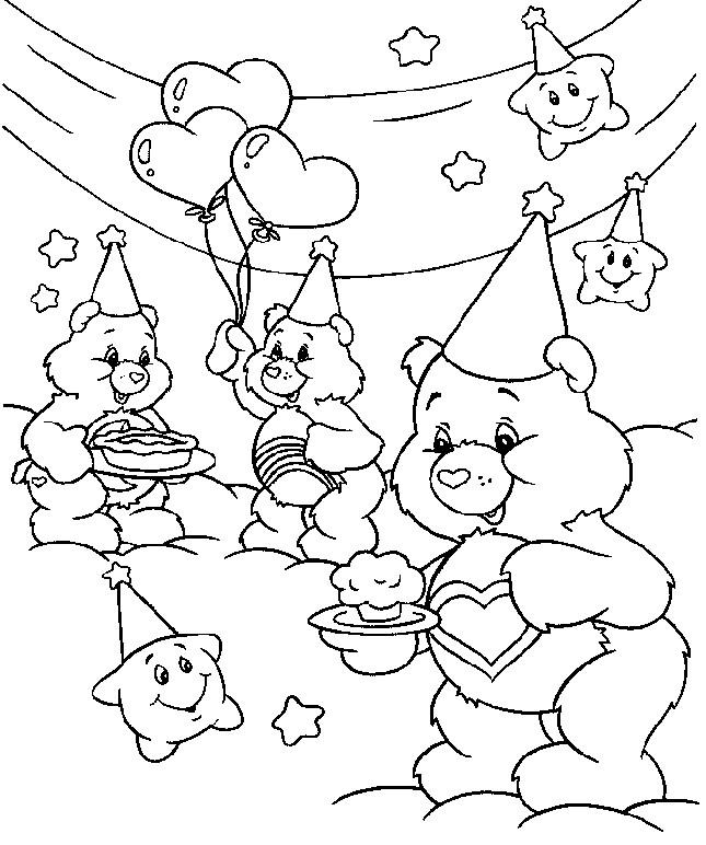 Coloriage bisounours mangent des desserts dessin gratuit imprimer - Bisounours coloriage ...