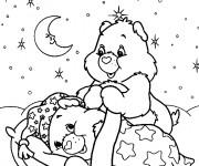 Coloriage dessin  Bisounours se préparent à dormir