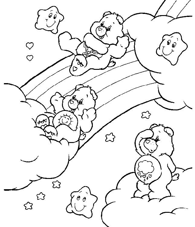 Coloriage et dessins gratuits Bisounours sur l'arc en ciel à imprimer