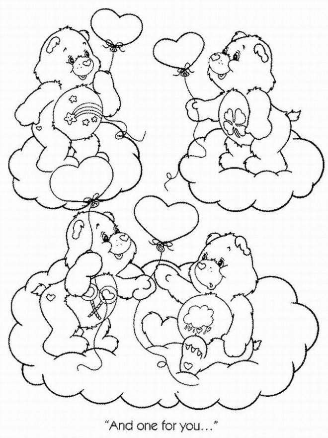 Coloriage et dessins gratuits Bisounours tiennent des ballons à imprimer