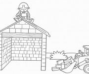 Coloriage et dessins gratuit Bob le bricoleur construit une maison à imprimer