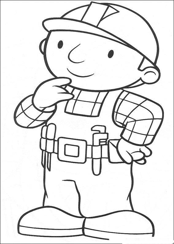 Coloriage et dessins gratuits Bob le bricoleur entrain de penser à imprimer